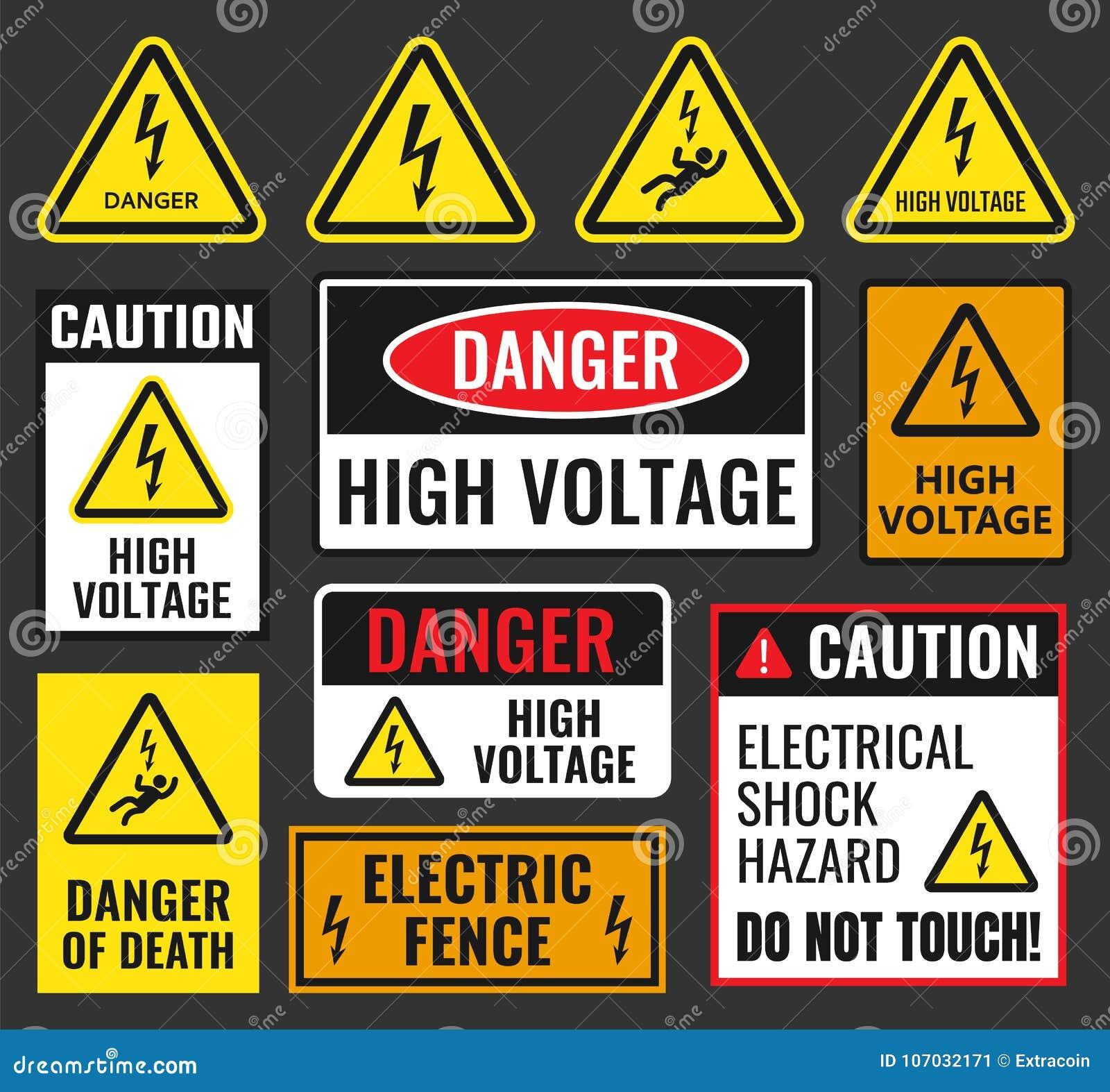 Danger high voltage signs stock vector. Illustration of alert ...