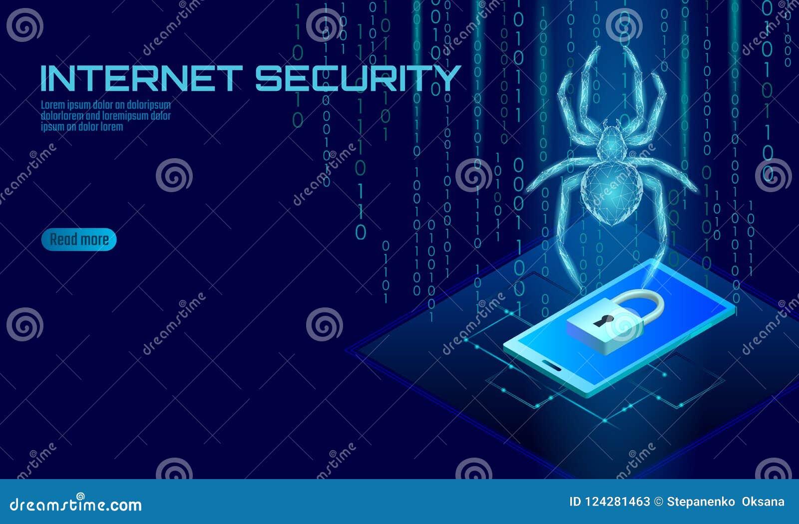 Danger isométrique d attaque de pirate informatique de l araignée 3D Concept d antivirus de sécurité de données de virus de sécur