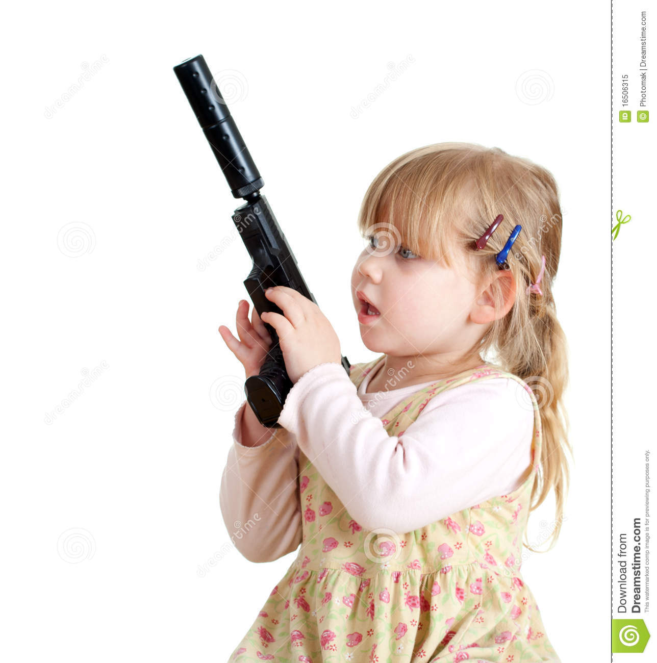 Danger  Little Girl With Gun Royalty Free Stock Photo  Image