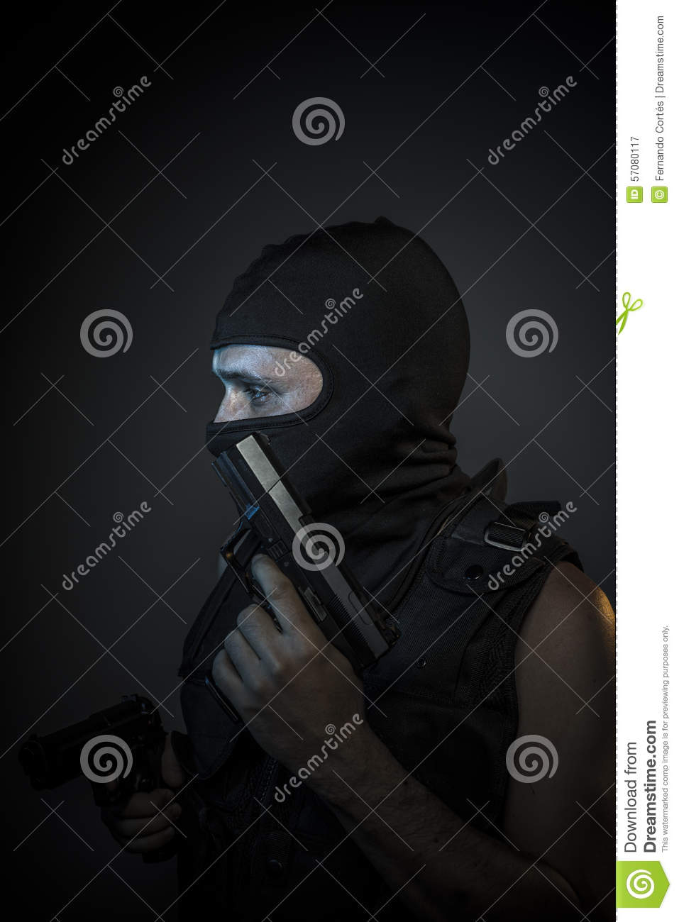 Danger, Murderer With Motorcycle Helmet And Guns Stock ...