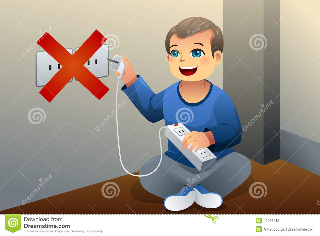Danger Of Playing With An Electrical Outlet Stock Vector - Image ...