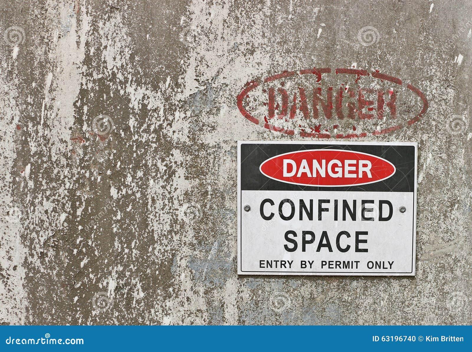 Danger rouge et noir et blanc, panneau d avertissement de l espace confiné