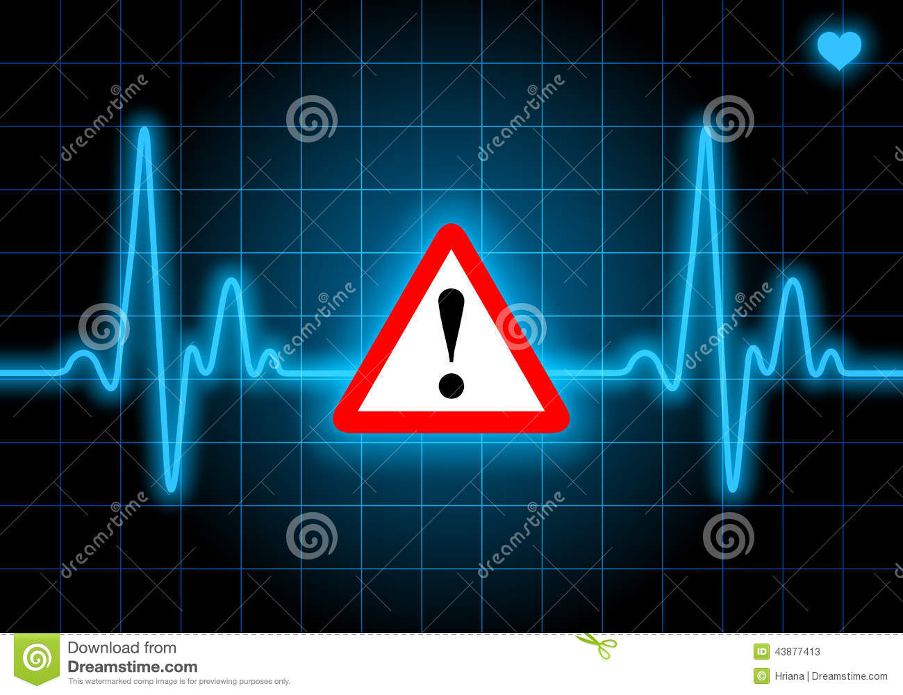 Danger Sign On Blue Heart Rate Monitor Stock Illustration