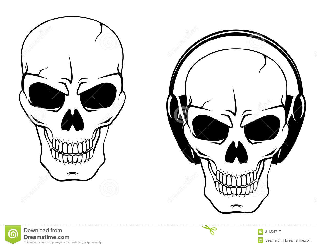 Danger Skull In Headphones Royalty Free Stock Photography - Image ...