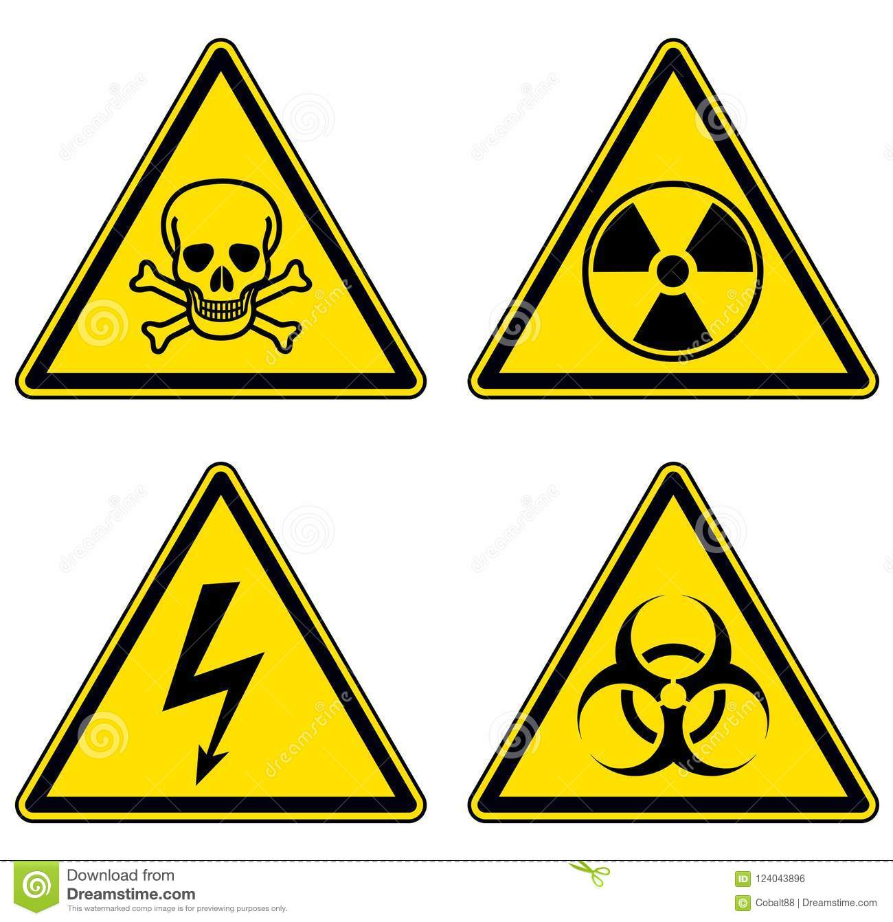 Danger And Warning Signs Set Stock Vector Illustration Of Poison