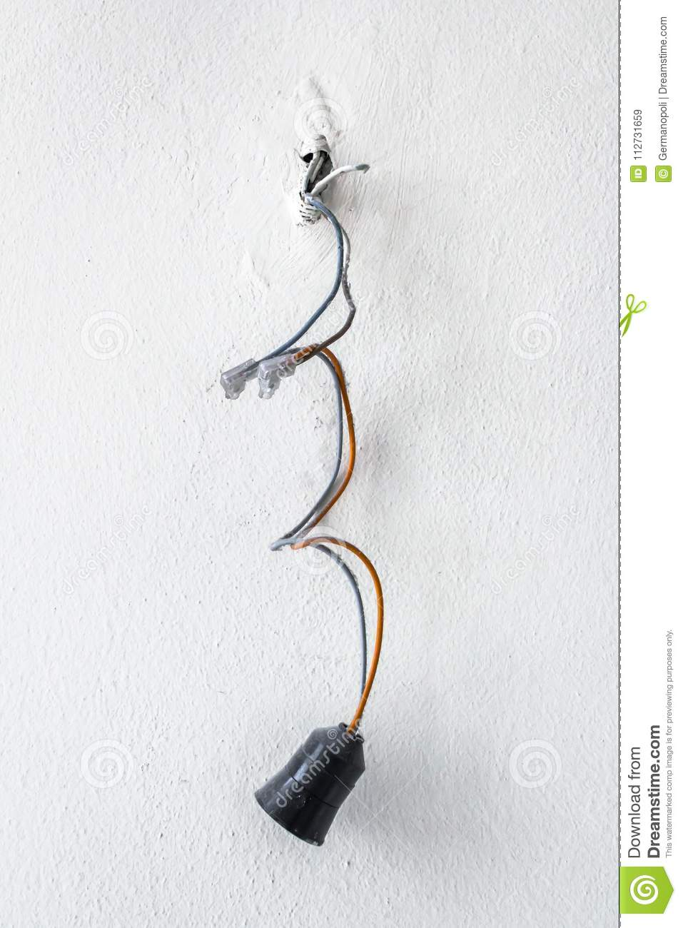 Dangerous Bad Wiring Leading To The Bulb Stock Image Of Electrical Connection Lamp Poor
