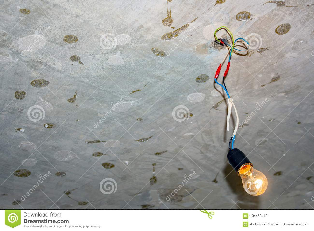Bad Wiring Leading To The Bulb Stock Photo - Image of energy, home ...