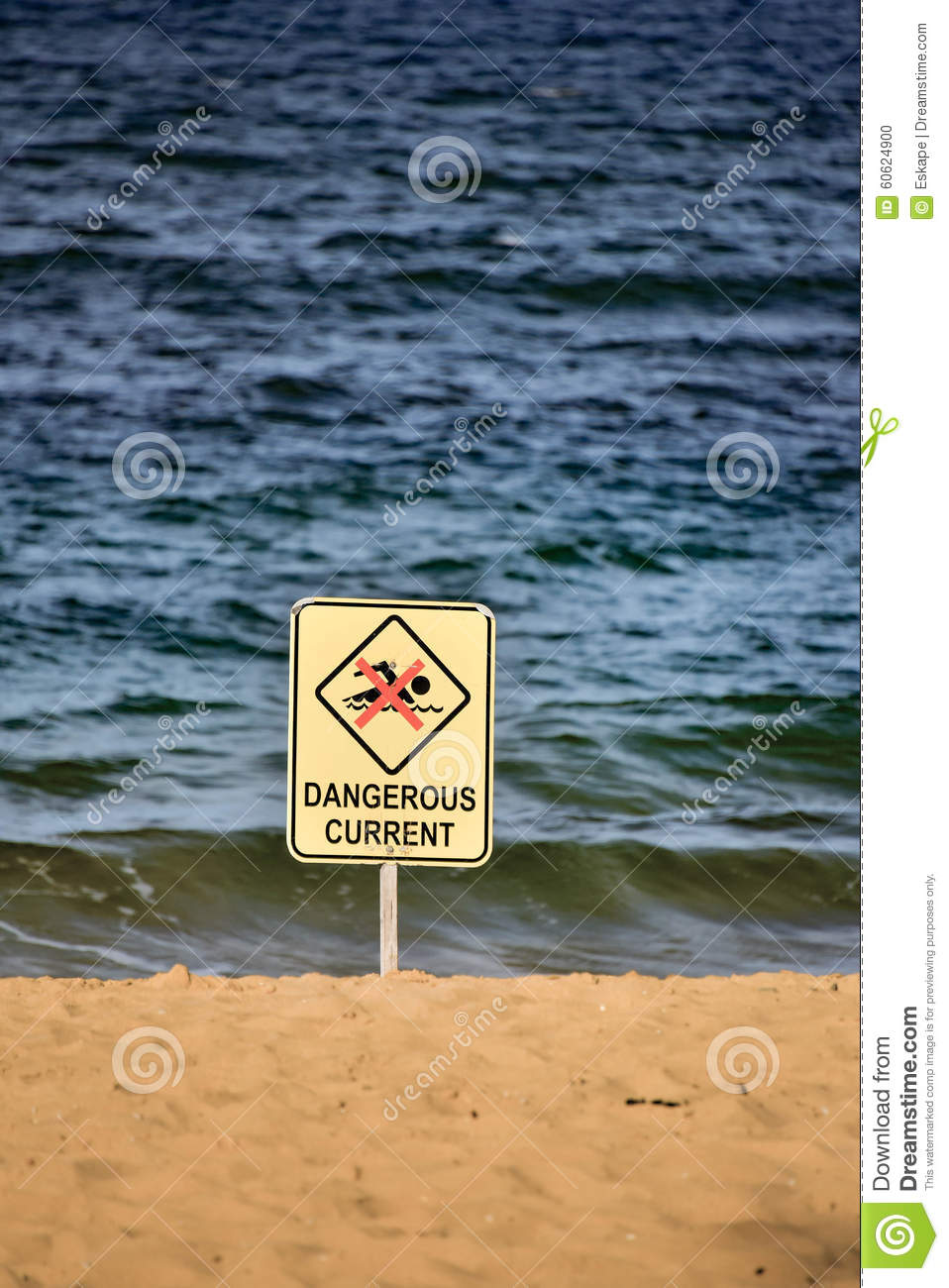 Dangerous Current sign at the beach