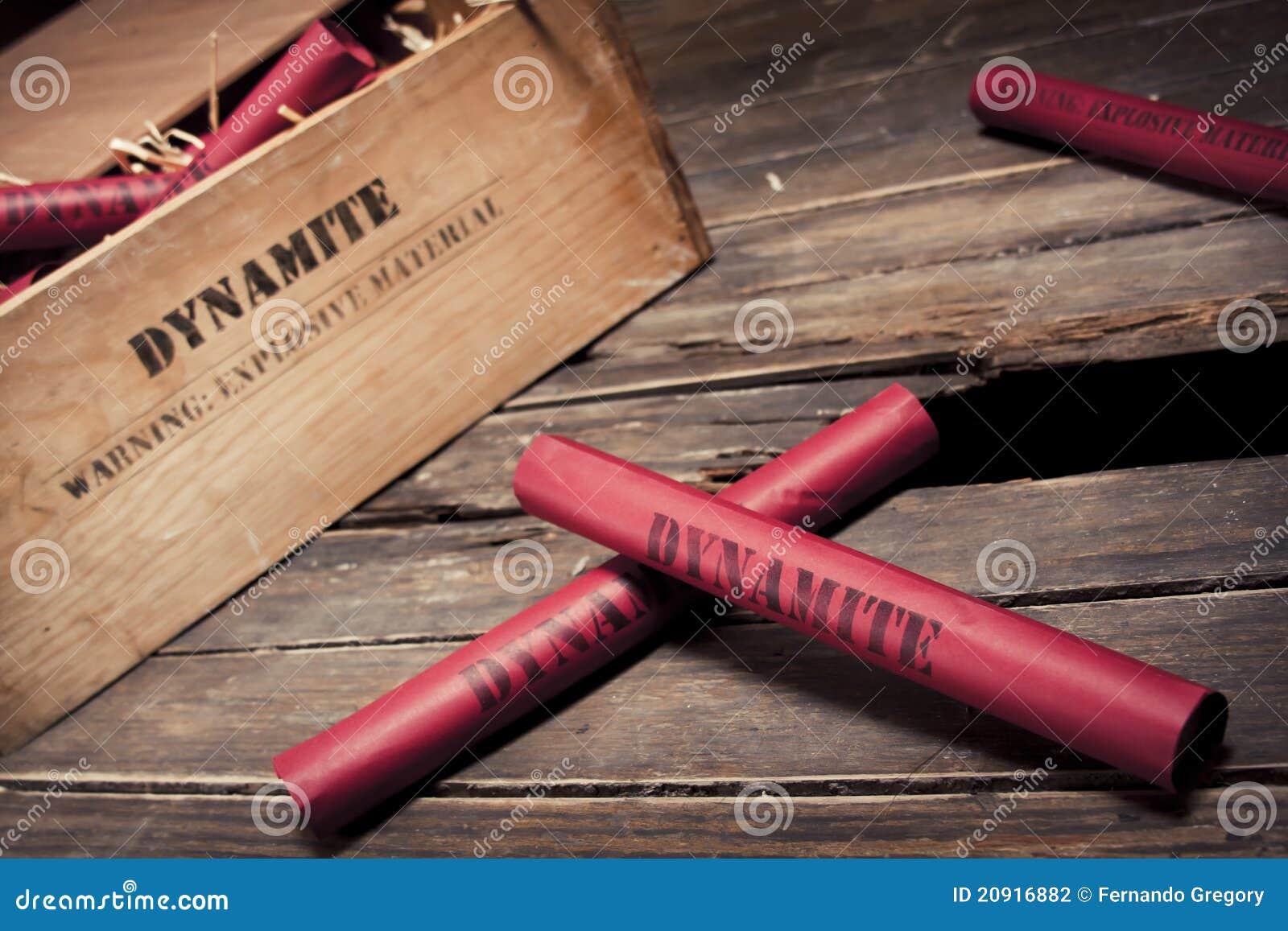 Dangerous dynamite sticks on wooden a box