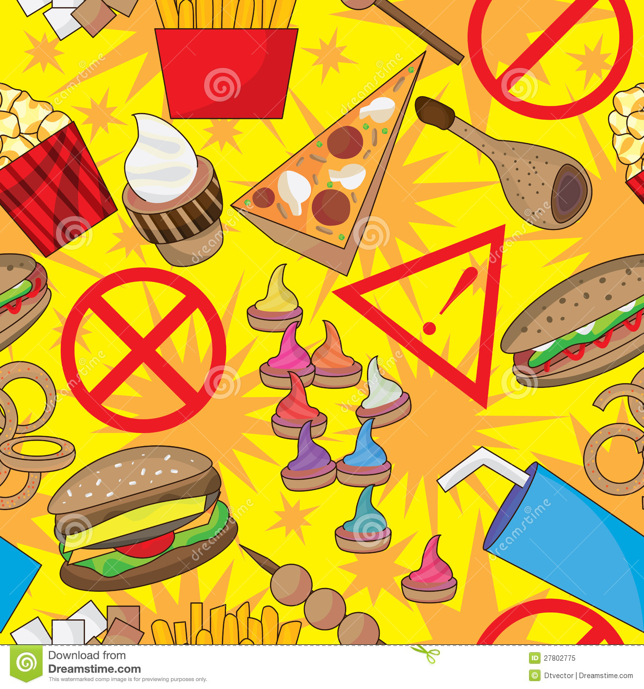 dangerous fast food seamless pattern eps royalty free stock photo