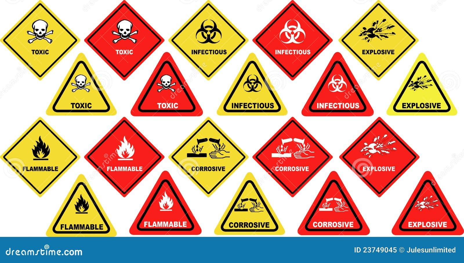 Dangerous Goods Warning Signs Vector Stock Vector Illustration