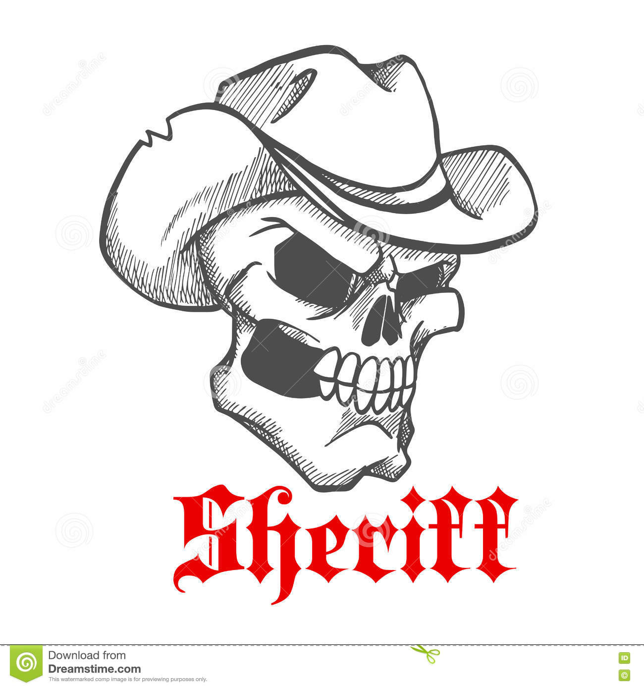 3652c7c30bd Dangerous and angry skull sheriff symbol wearing old leather cowboy hat  with ragged edges. Sketched human skeleton for wild west concept