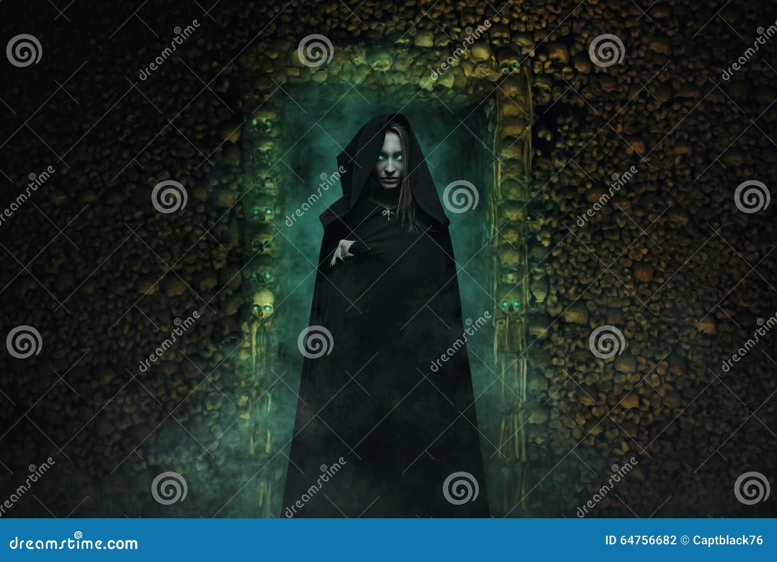 Dangerous vampire in catacombs