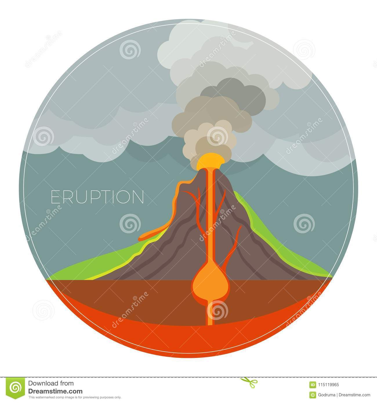 Dangerous volcano eruption scheme with lot of smoke stock image royalty free stock photo ccuart Image collections