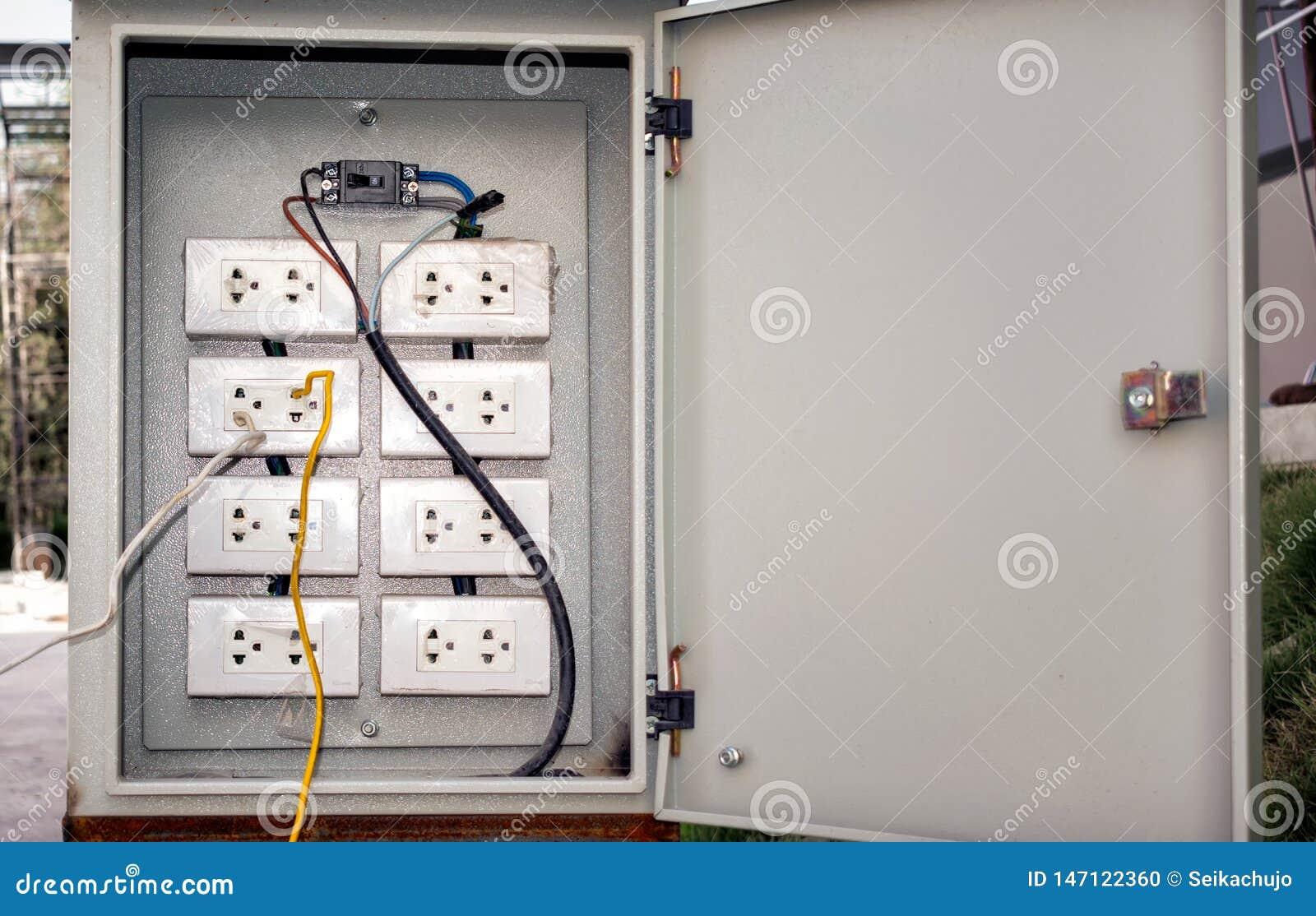 Dangerously Wired Electrical Sockets in a Breaker Box