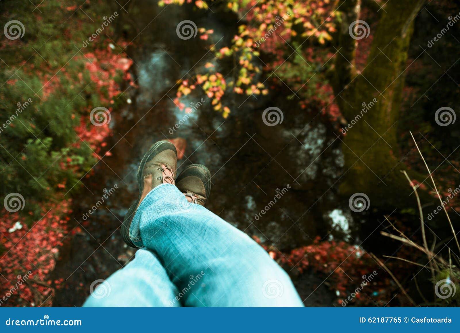 Dangling feet.