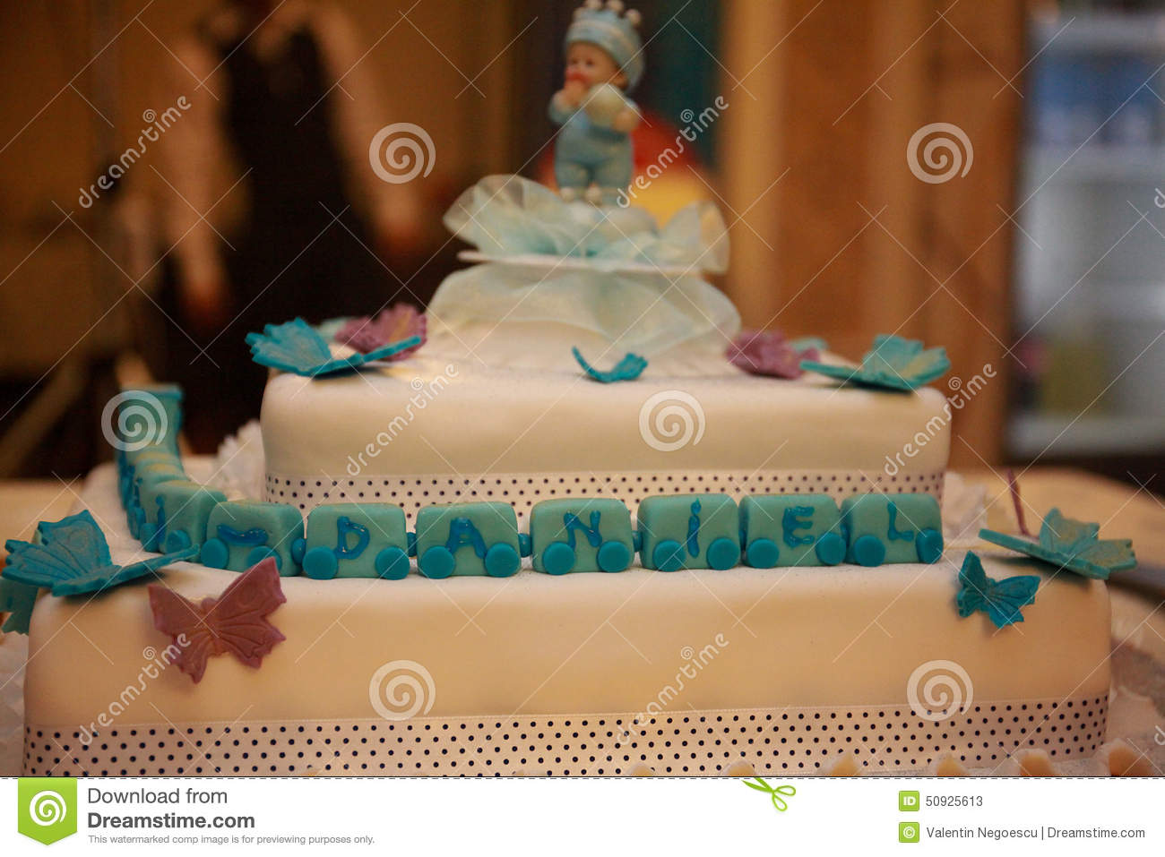 Daniel baby boy cake for new born celebrations stock photo for Baby footprints cake decoration