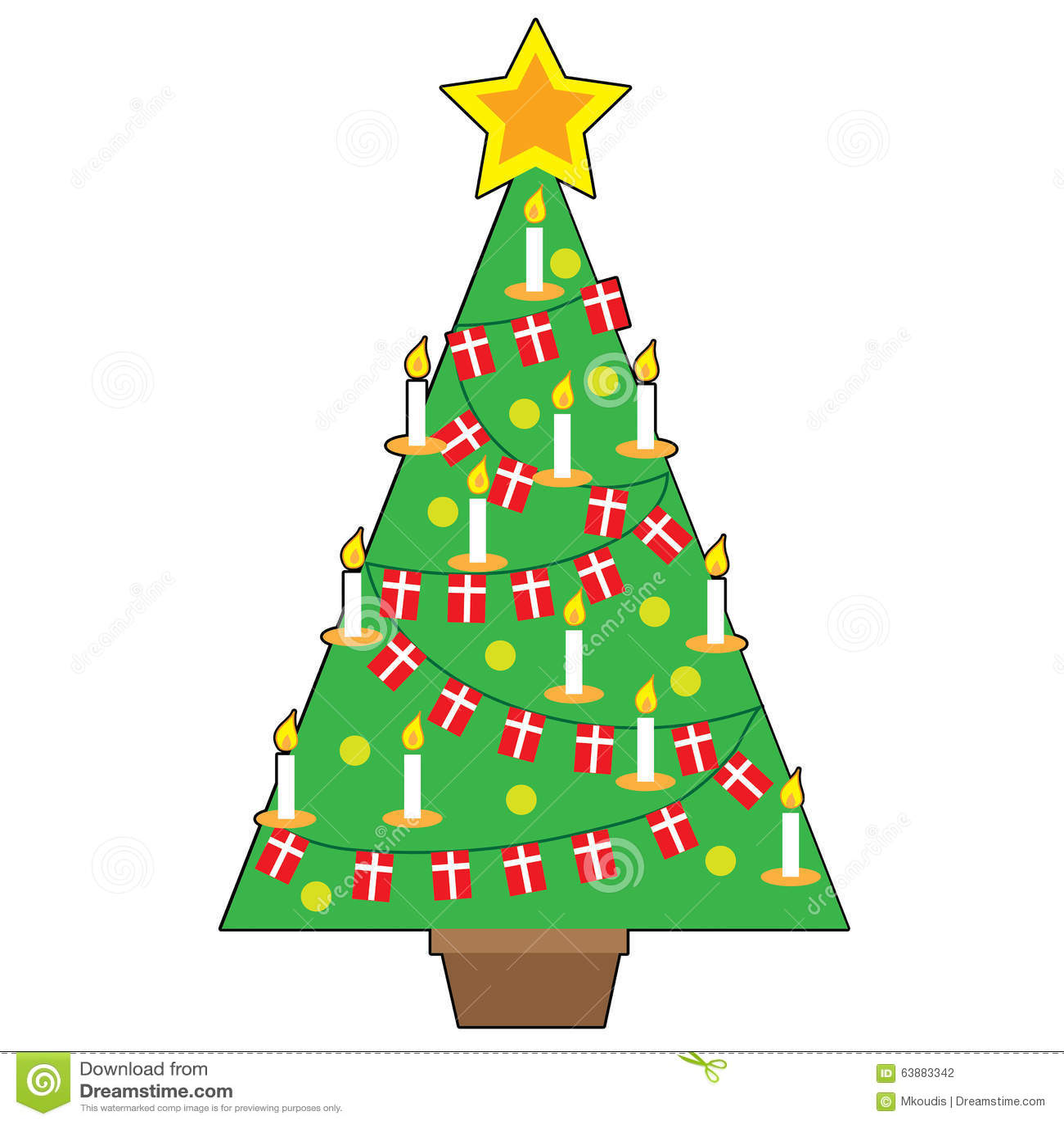 Danish Christmas Trees: Danish Christmas Tree Stock Vector. Illustration Of