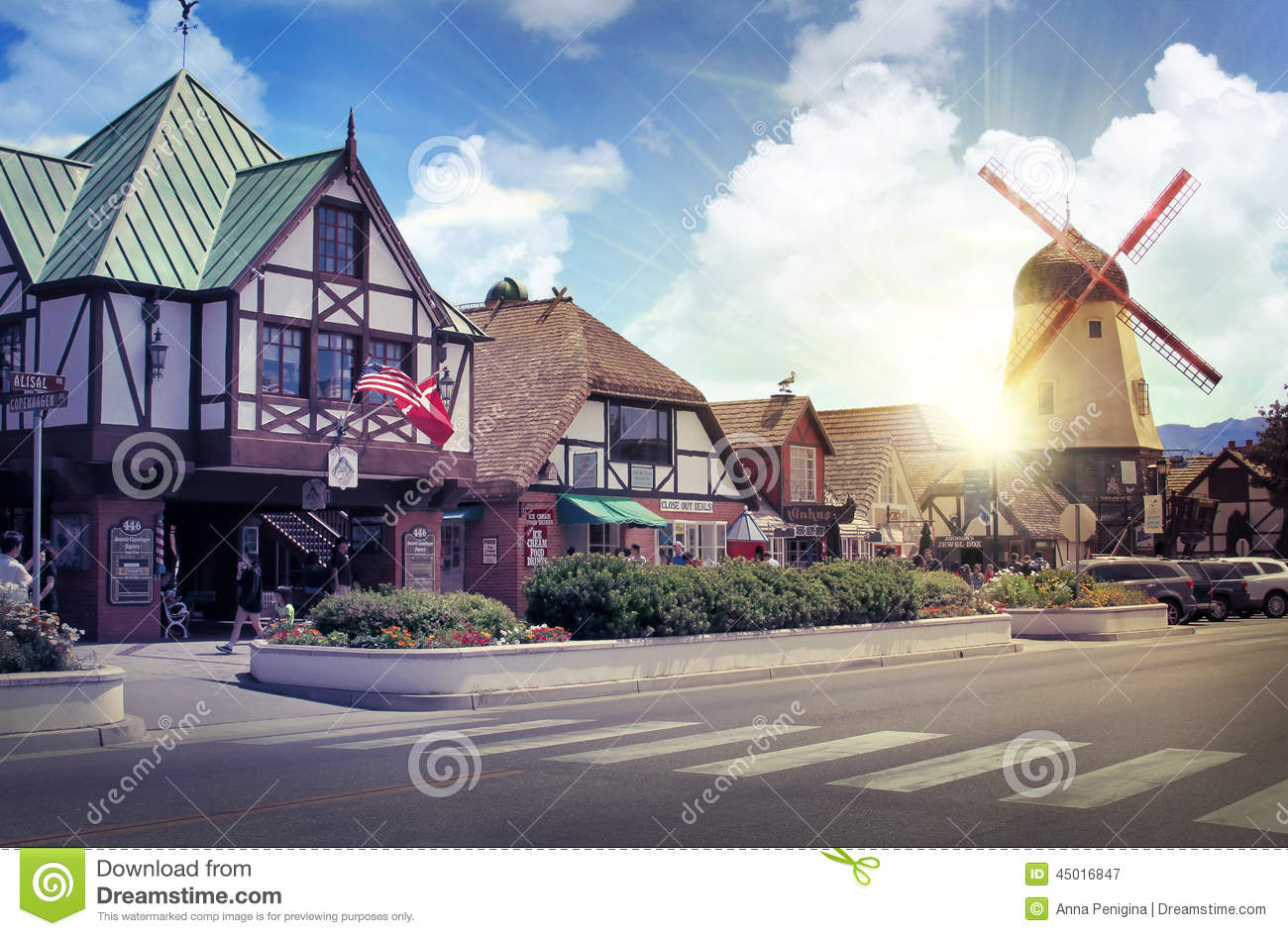 Danish european town of solvang editorial photography for Village town