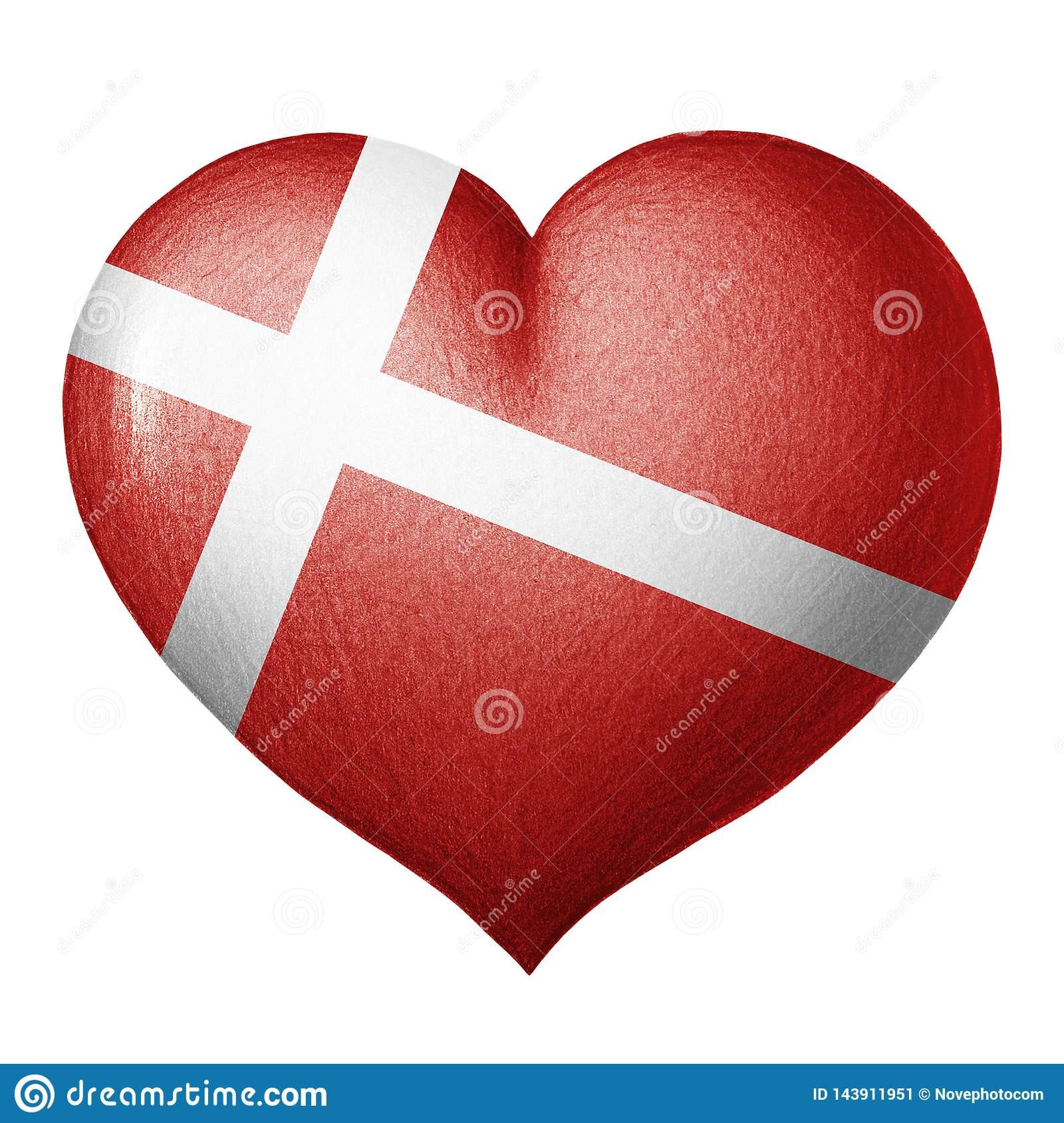 Danish flag heart isolated on white background. Pencil drawing