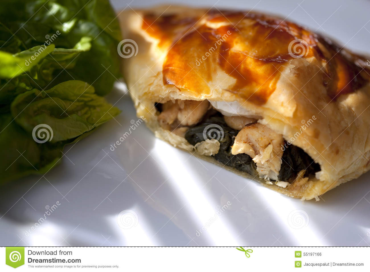 Danish pastry with spinach, chicken and goat cheese.