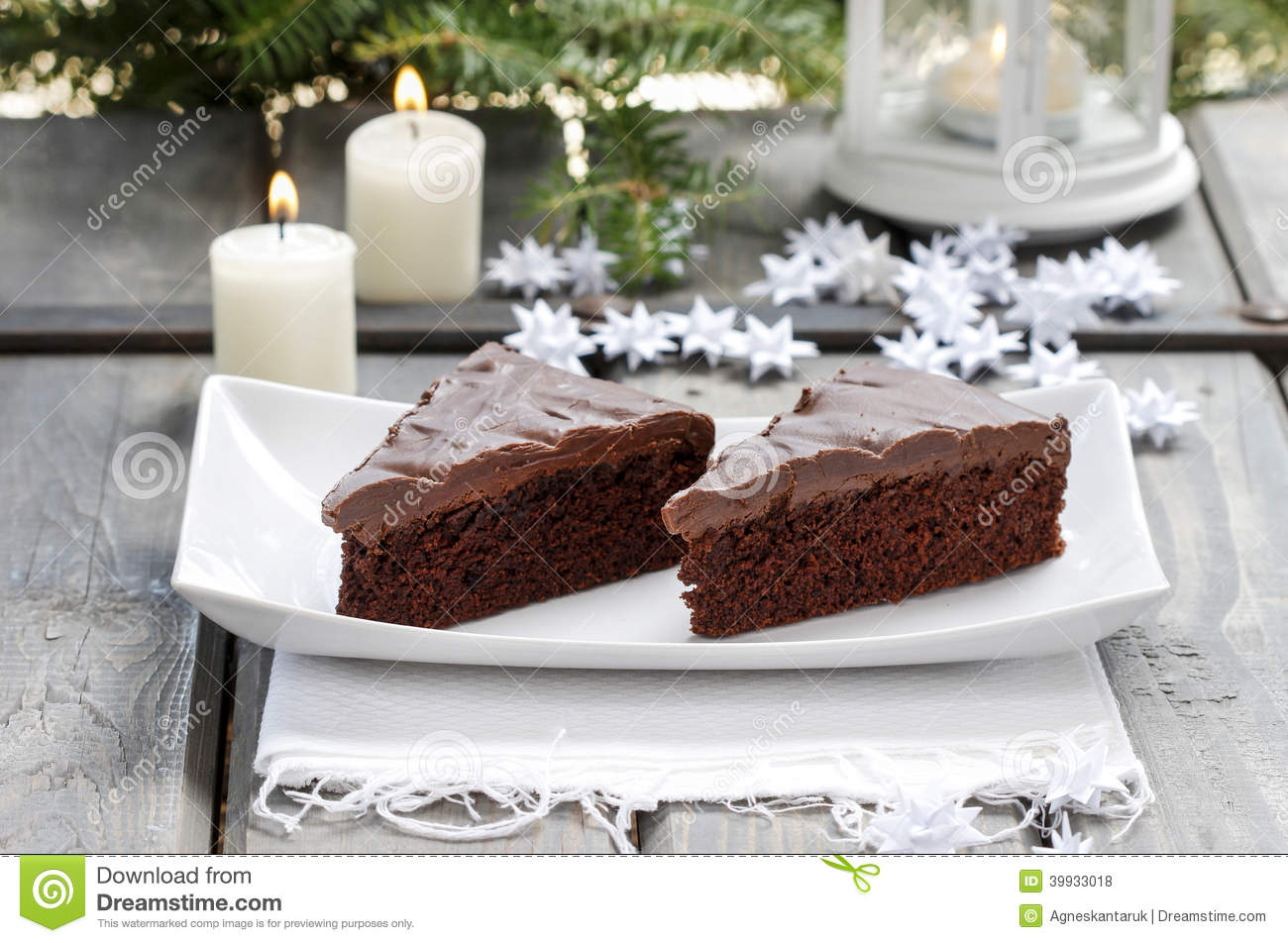 Danish traditional christmas. Chocolate cake