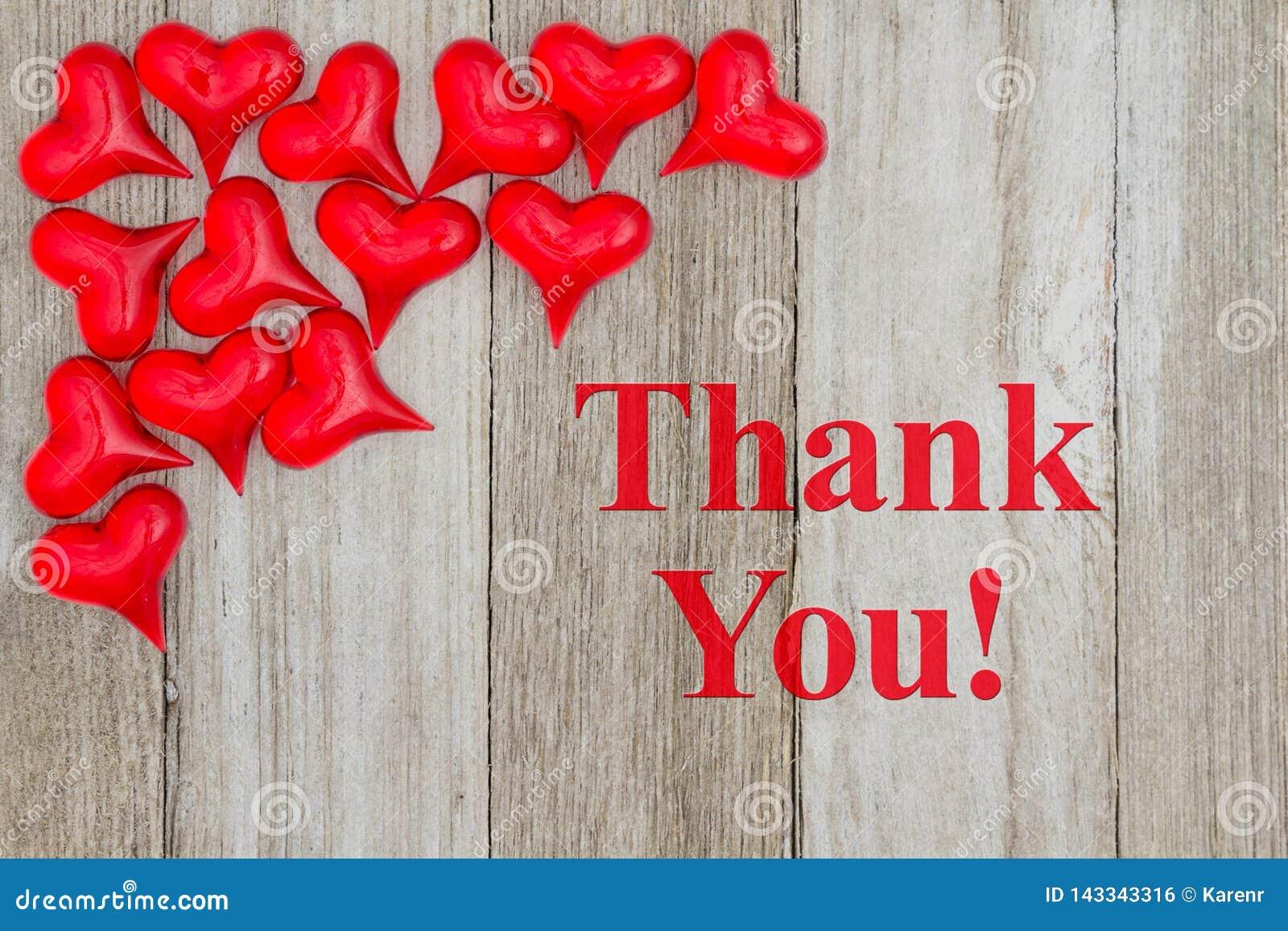 Dank u bericht met rode harten