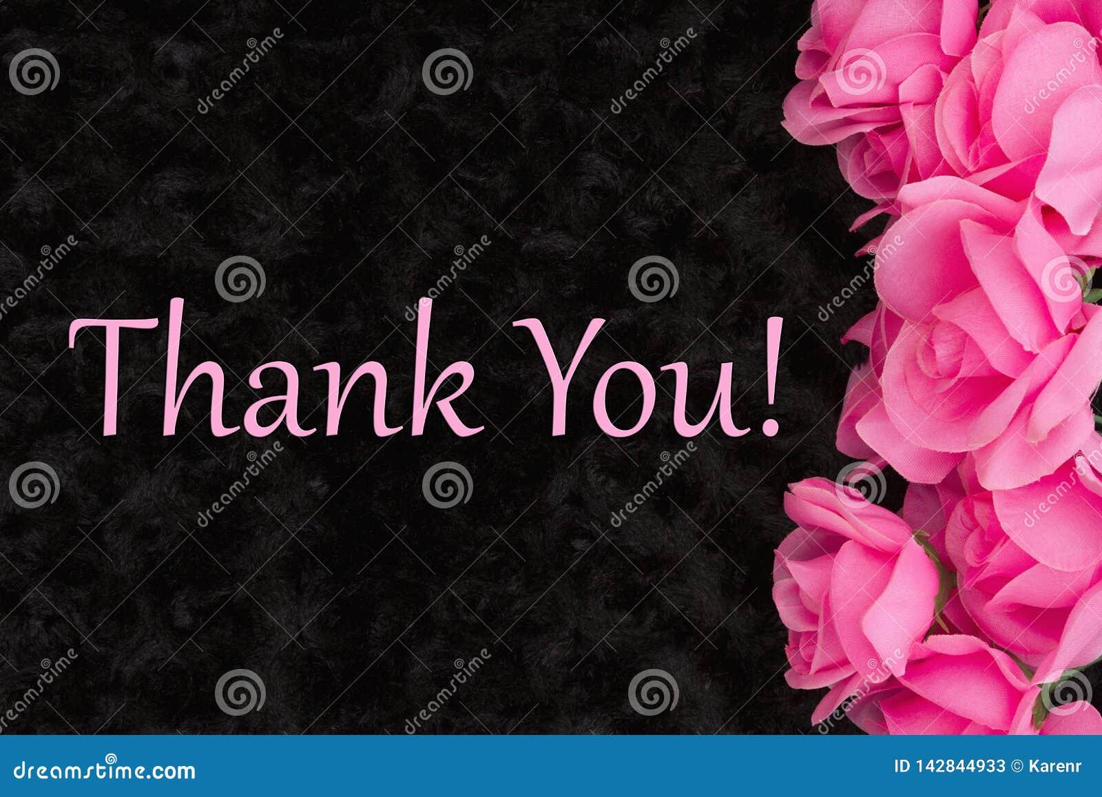 Dank u bericht met roze rozen op zwarte