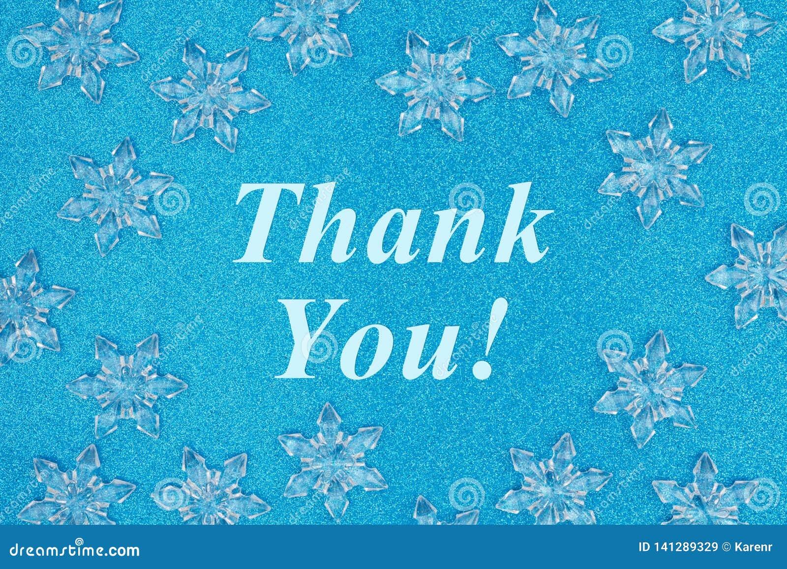 Dank u bericht met sneeuwvlokken