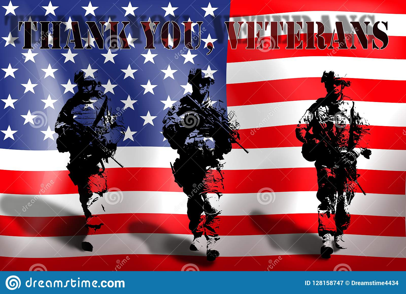 DANK U VETERANEN op de achtergrond van de Amerikaanse vlag met de militairen