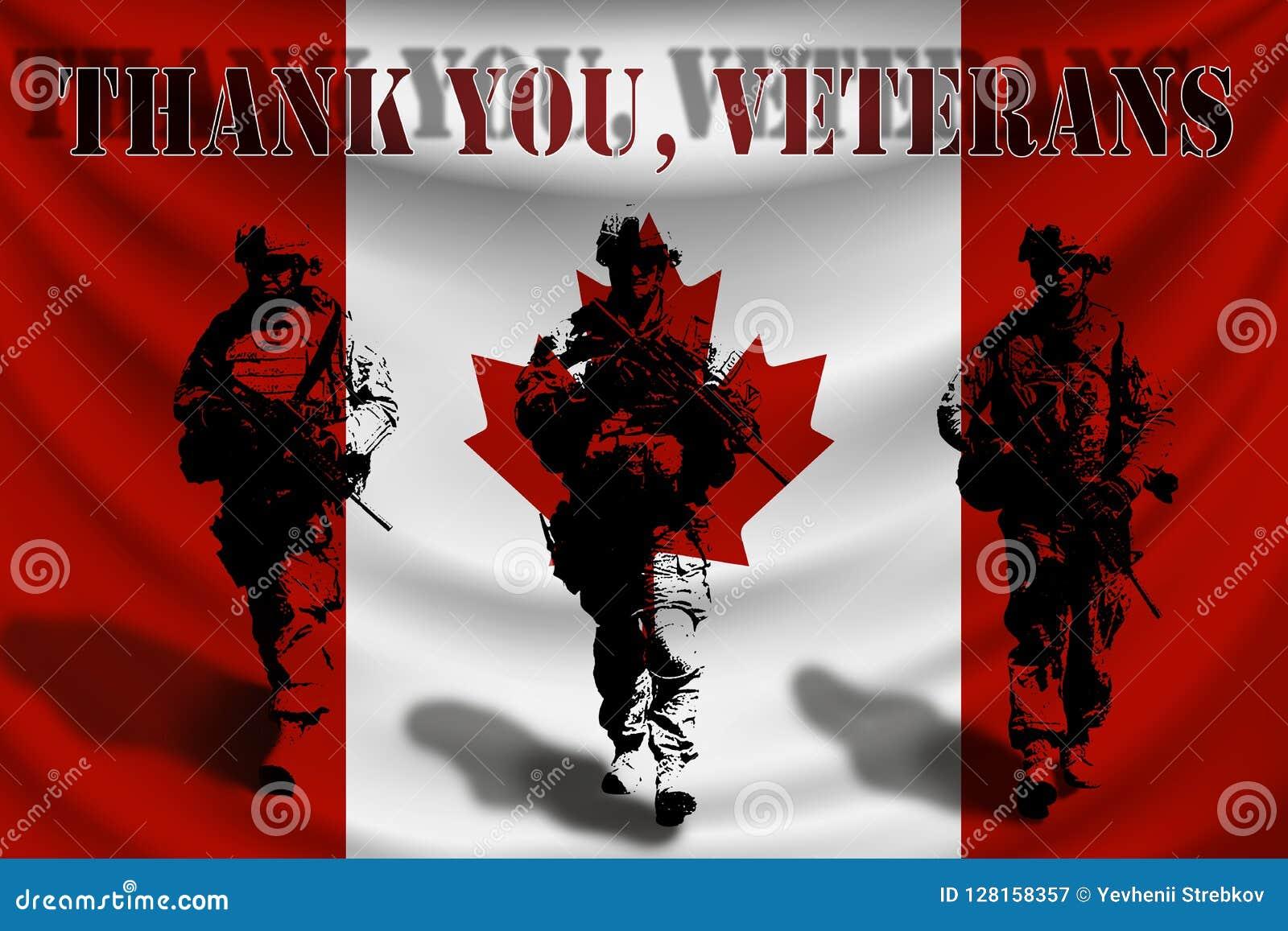 DANK U VETERANEN tegen de achtergrond van de Canadese vlag met militairen