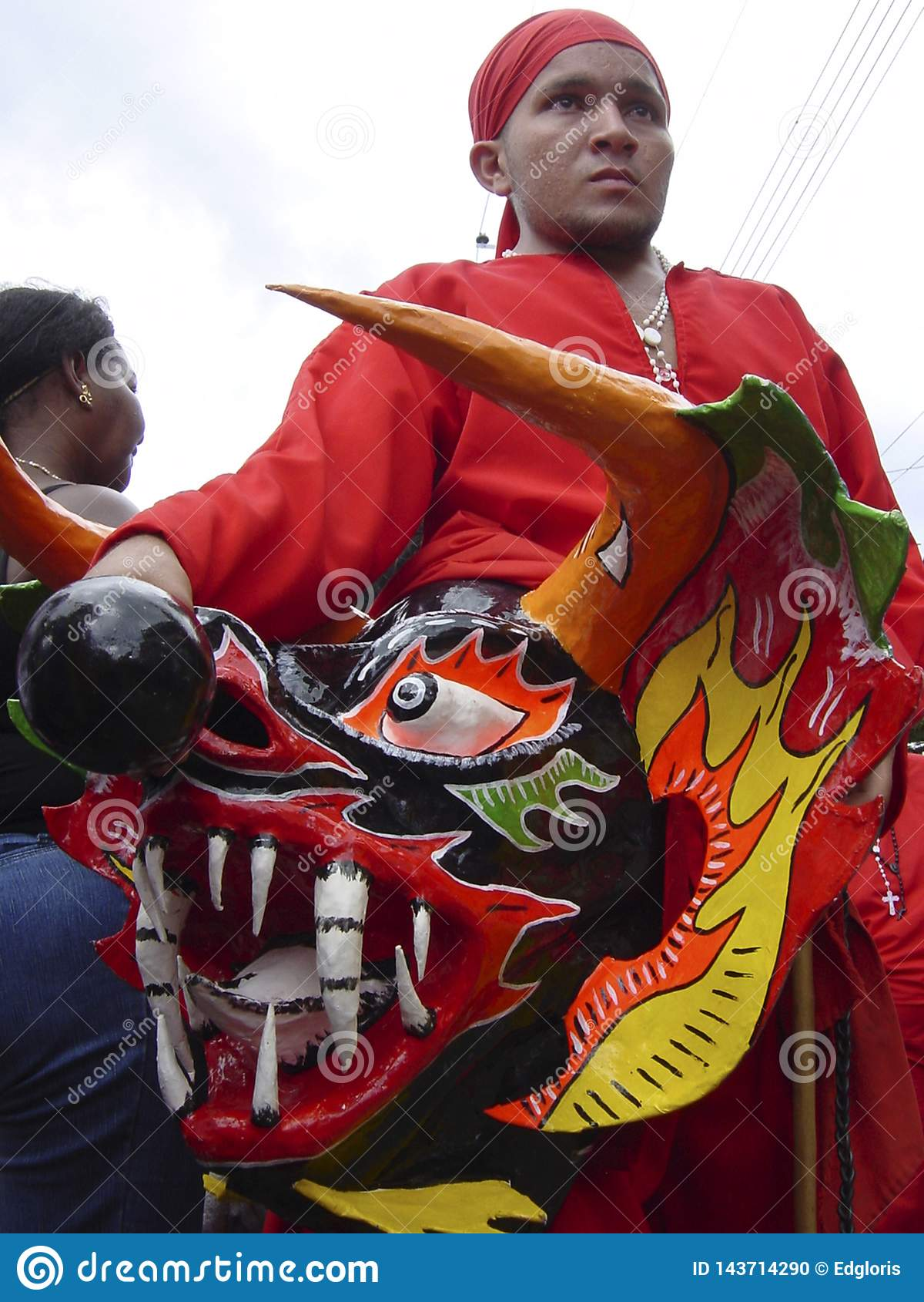 Dansa jäklar av Yare, en uppsättning av populära venezuelanska religiösa festivaler som rymms på Corpus Christi