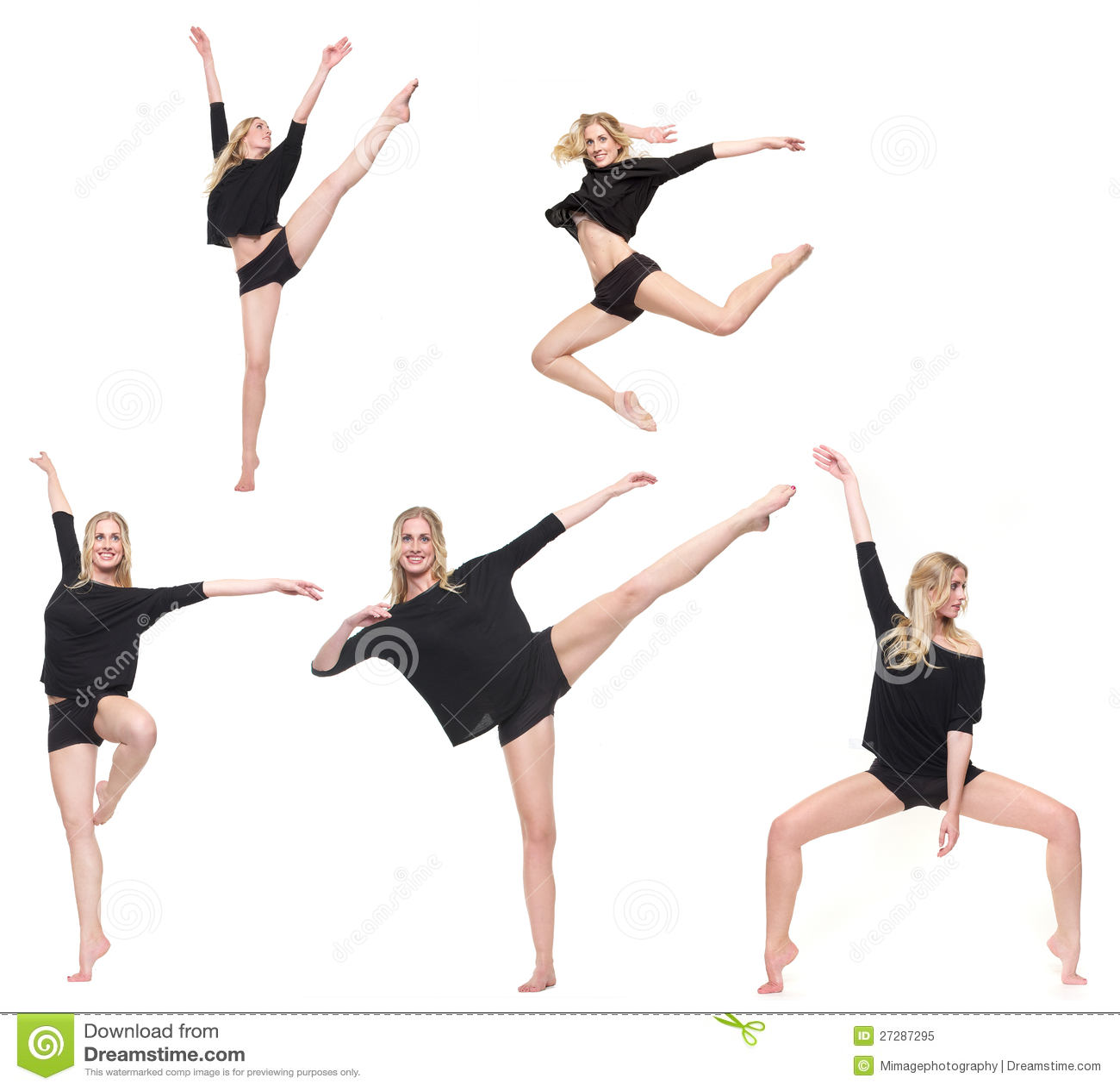 Dansare i olika fem poserar isolerat