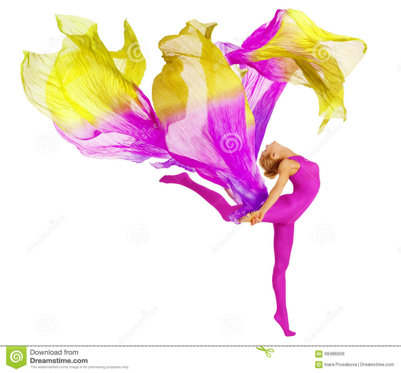 Danse d acrobate avec le tissu, blanc flexible de collant de danseur de femme