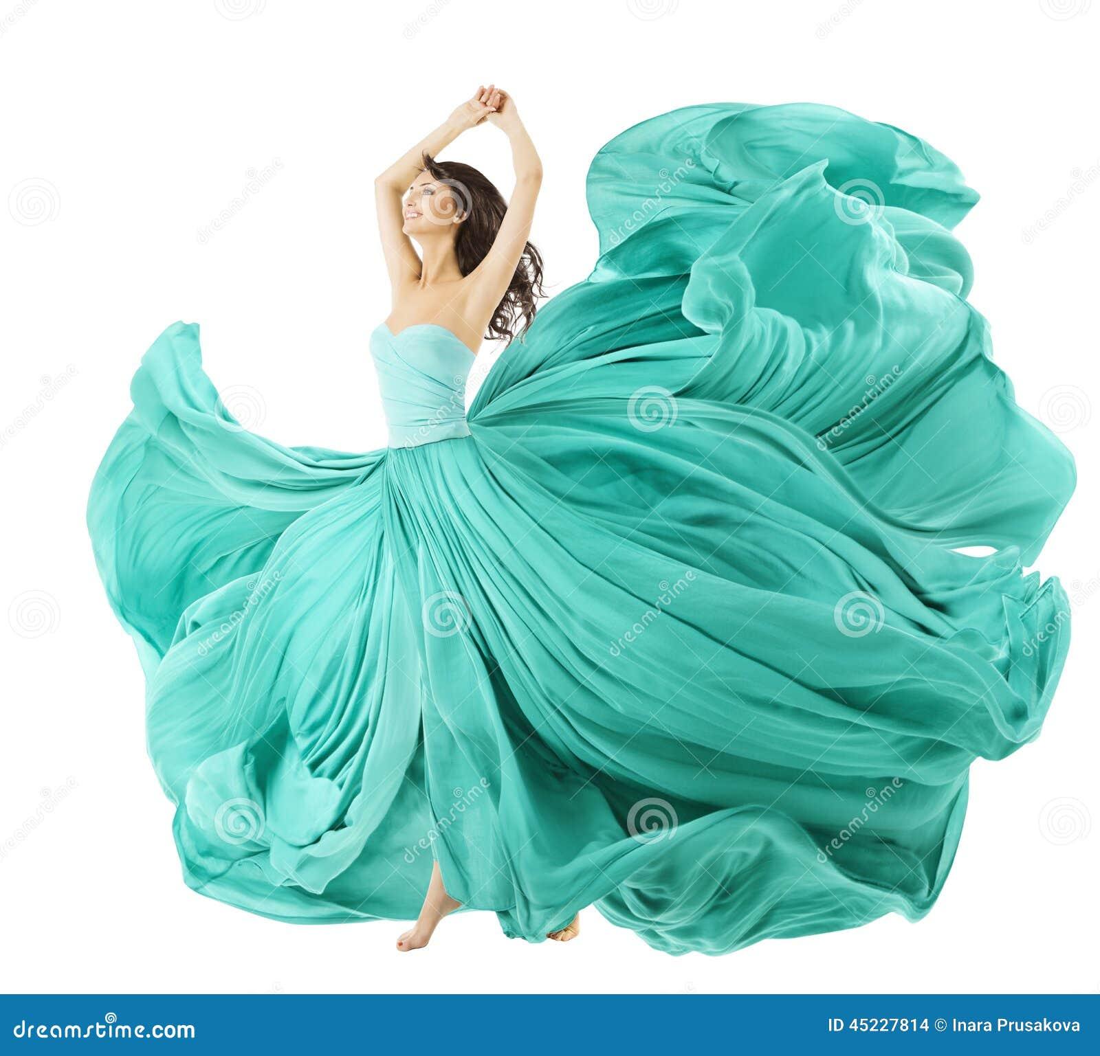 Danse de femme dans la robe de mode, tissu de tissu ondulant sur le vent