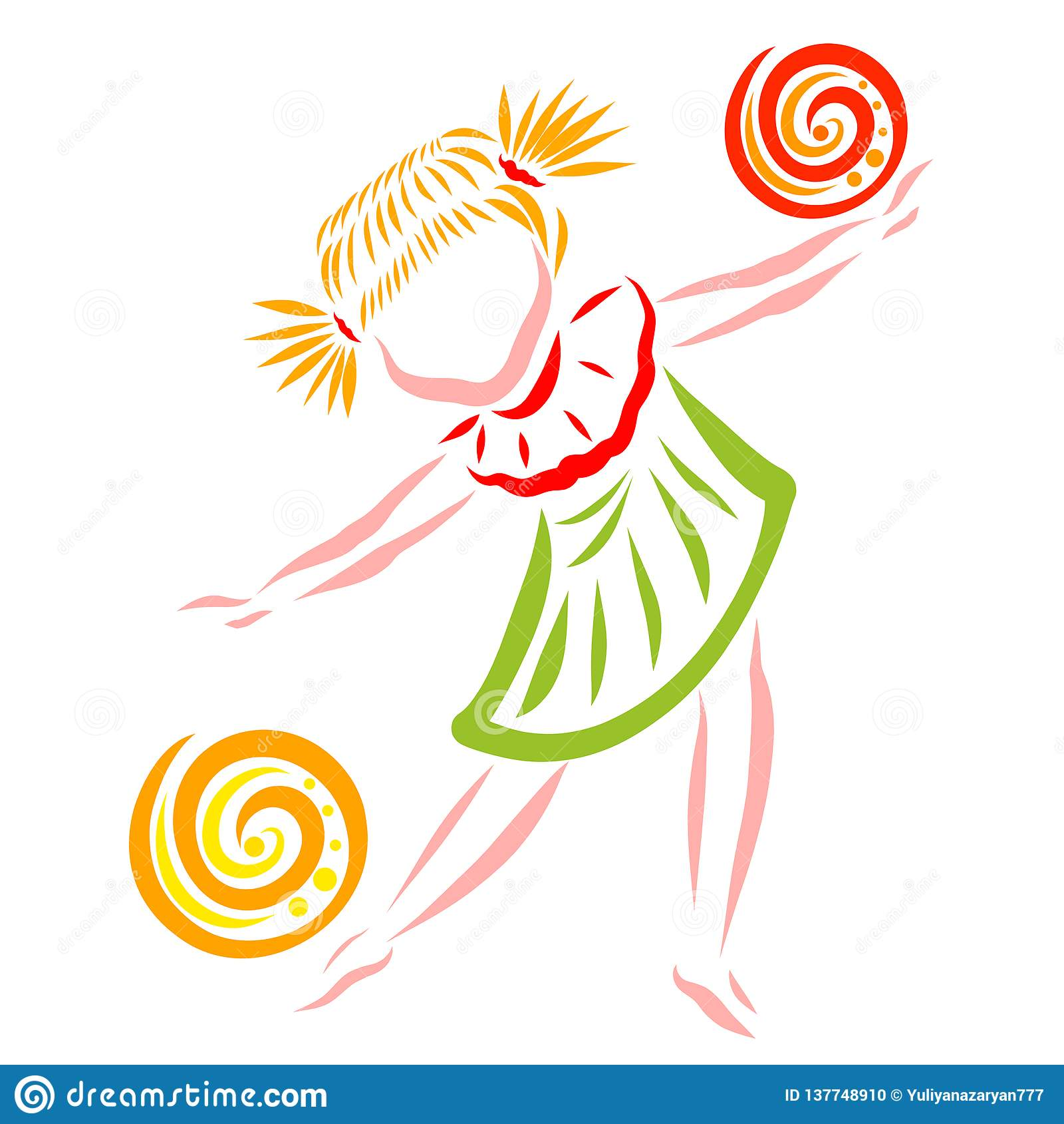 Danse de fille ou jeu avec deux boules, agilité