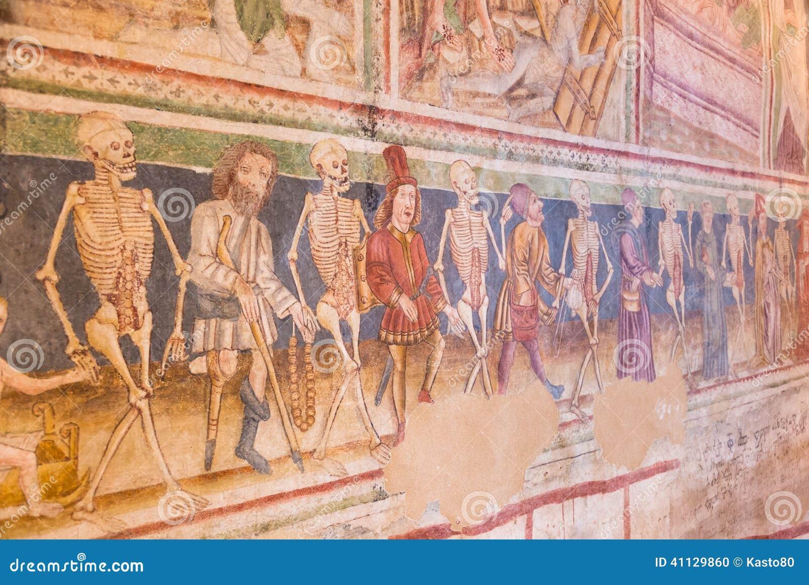 Person painting wall - Danse Macabre Fresco Hrastovlje Slovenia Stock Illustration Image