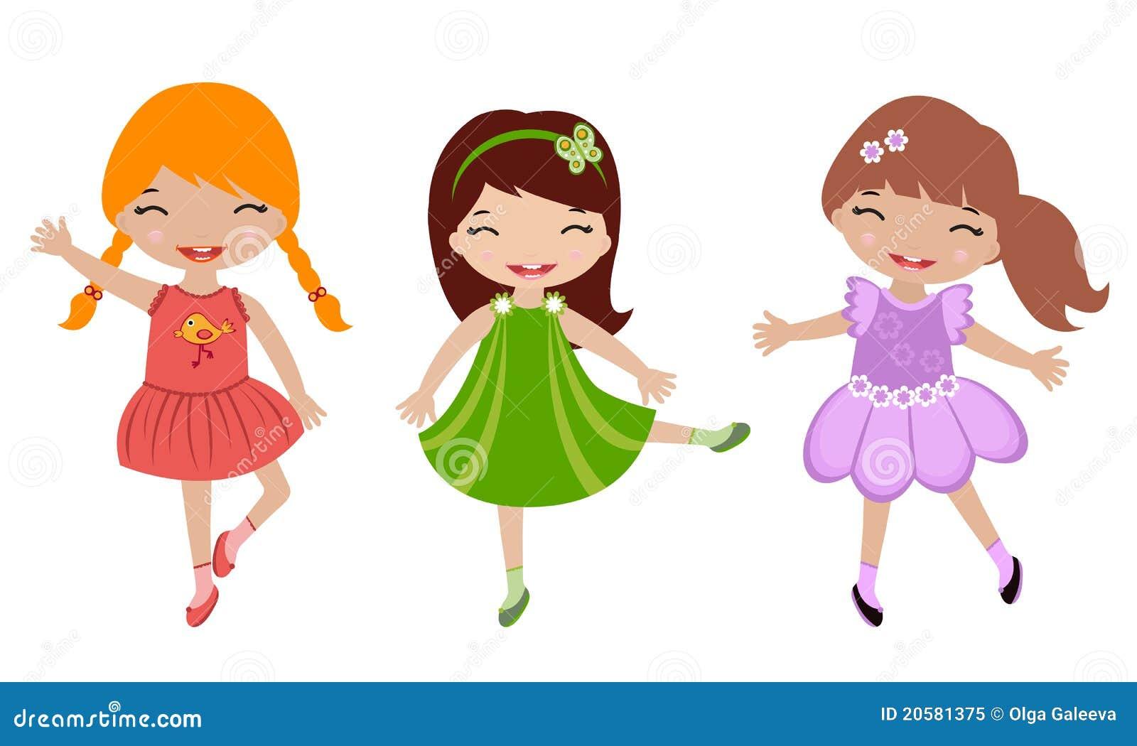 danse mignonne de trois petites filles illustration de vecteur illustration du bonheur rouge. Black Bedroom Furniture Sets. Home Design Ideas