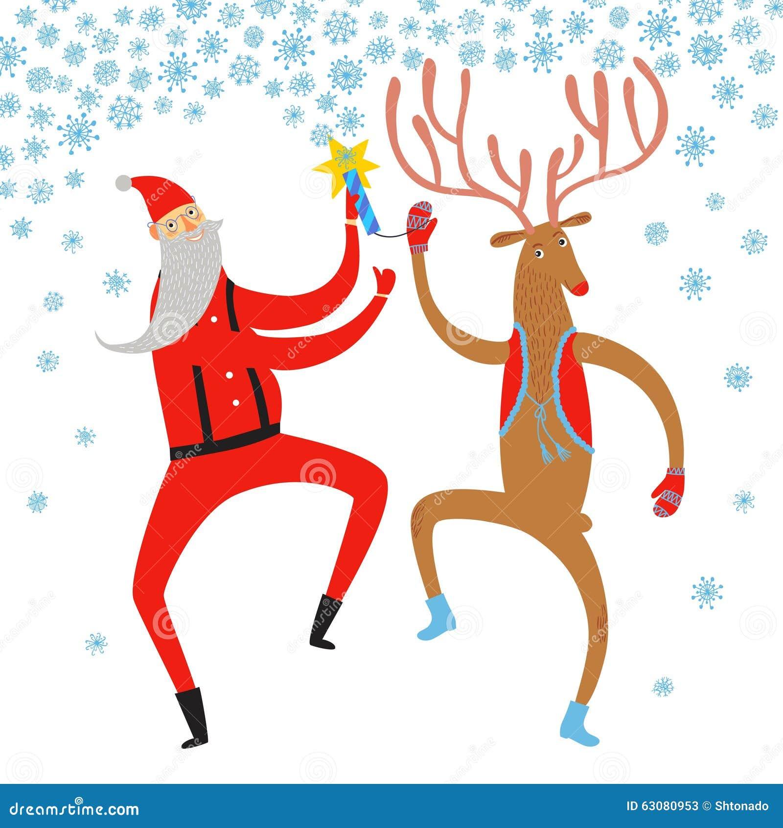 Download Danse Santa Claus Et Illustration De Cerfs Communs Illustration Stock - Illustration du cartoon, festive: 63080953