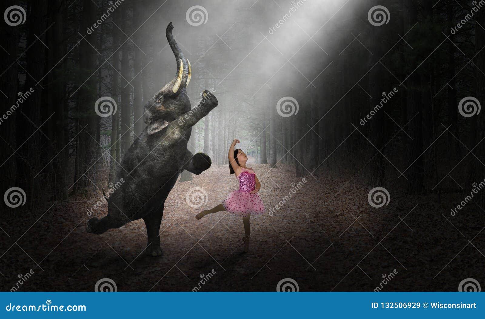 Danselefant, ballerinadansare, flicka, natur