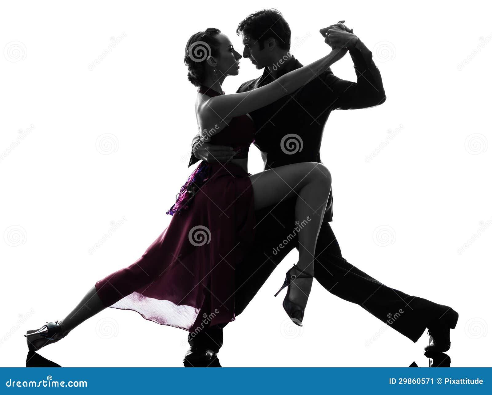 De man van het paar de dansers die van de vrouwenbalzaal silhouet tangoing