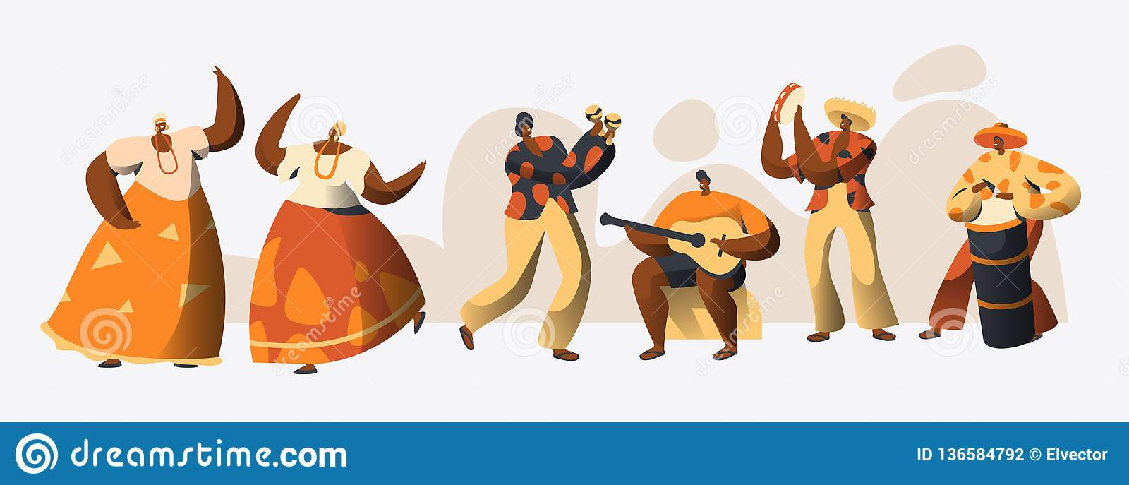 Danseur brésilien Set de caractère de carnaval Danse de femme dans le costume traditionnel du Brésil à la célébration de vacances