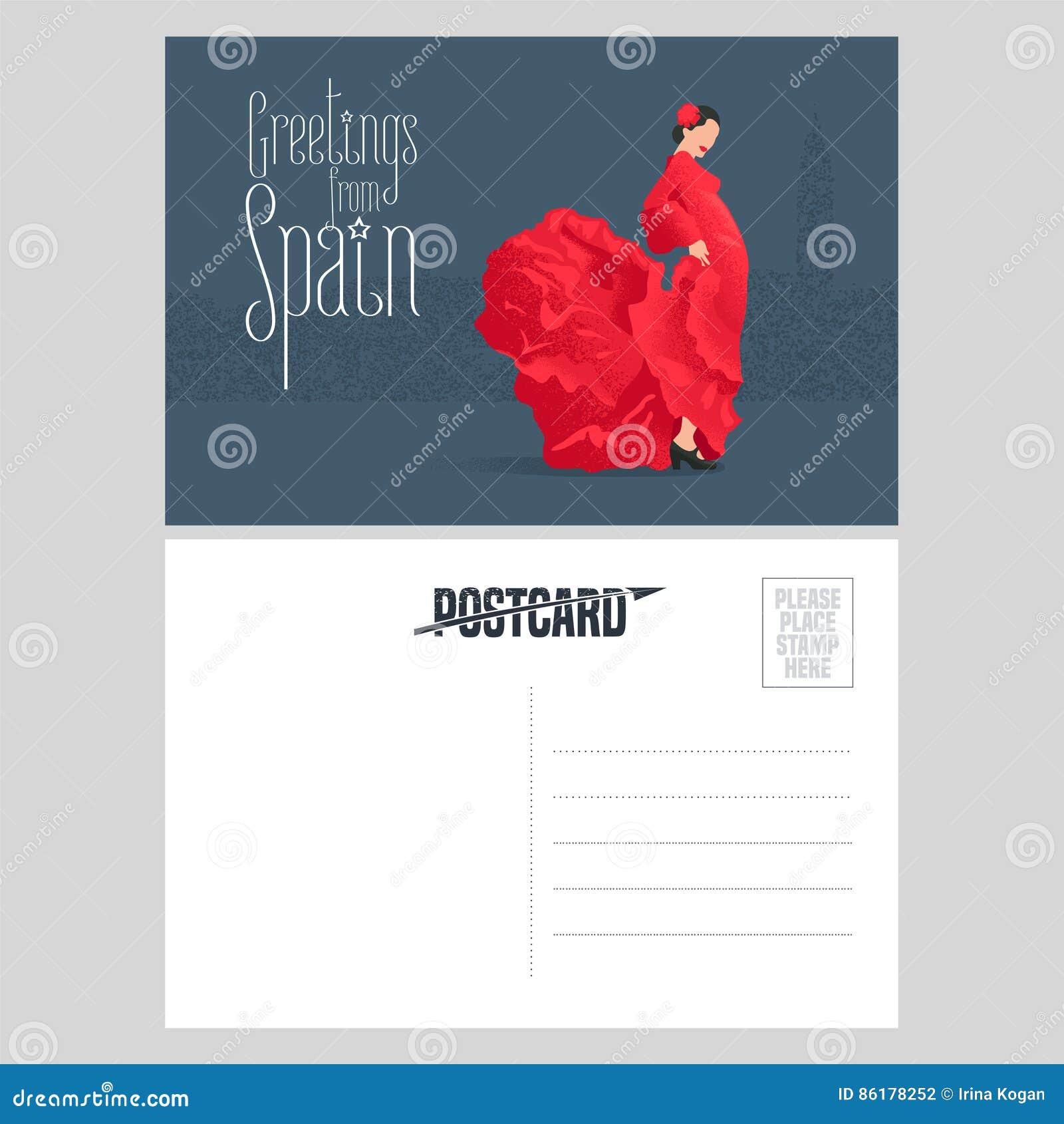 Danseur De Flamenco Dans La Robe Rouge Le Calibre Carte Postale Vecteur Concept LEspagne Visite Double A Degrossi Avec Gisement