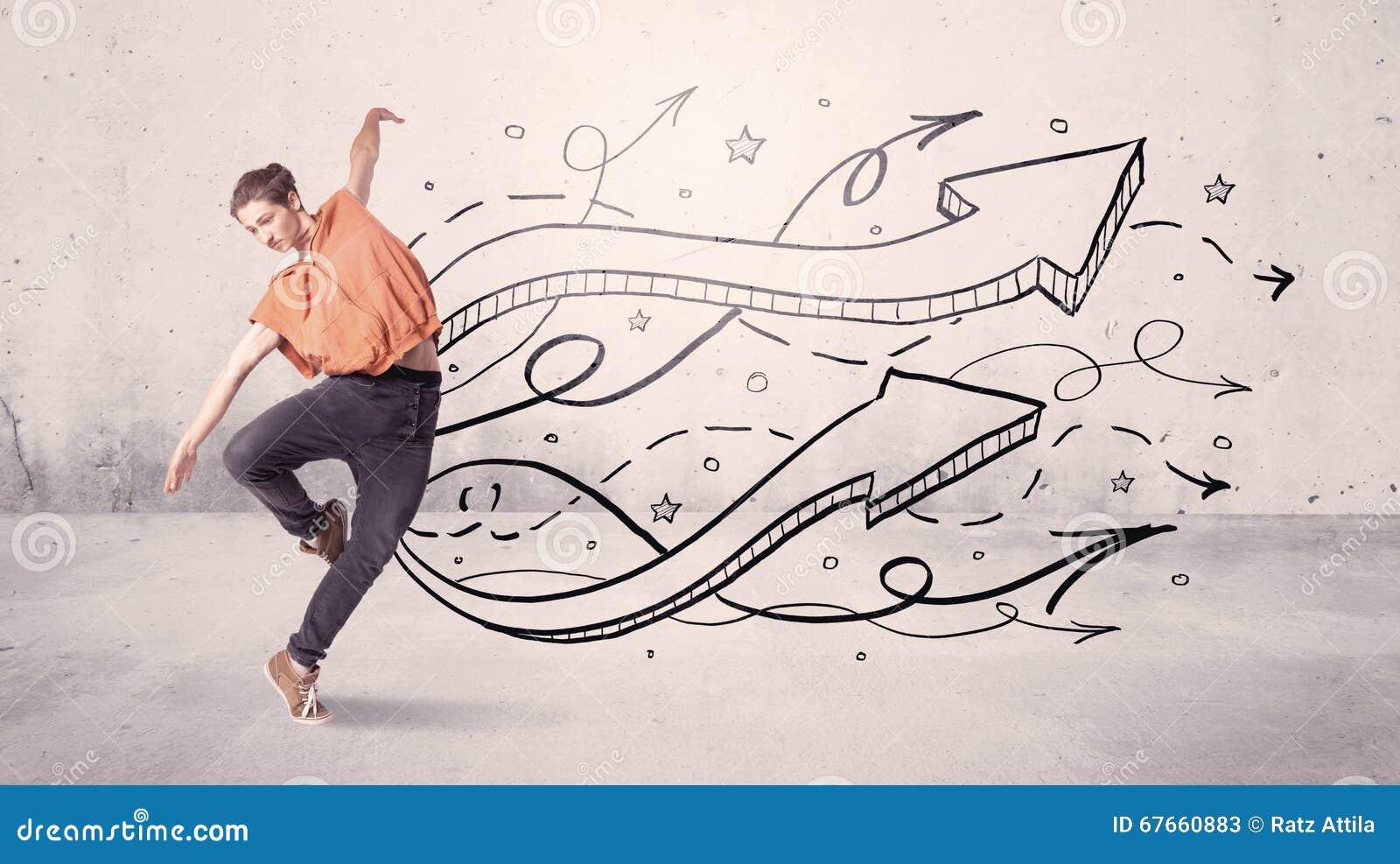 Danseur de rue avec des flèches et des étoiles