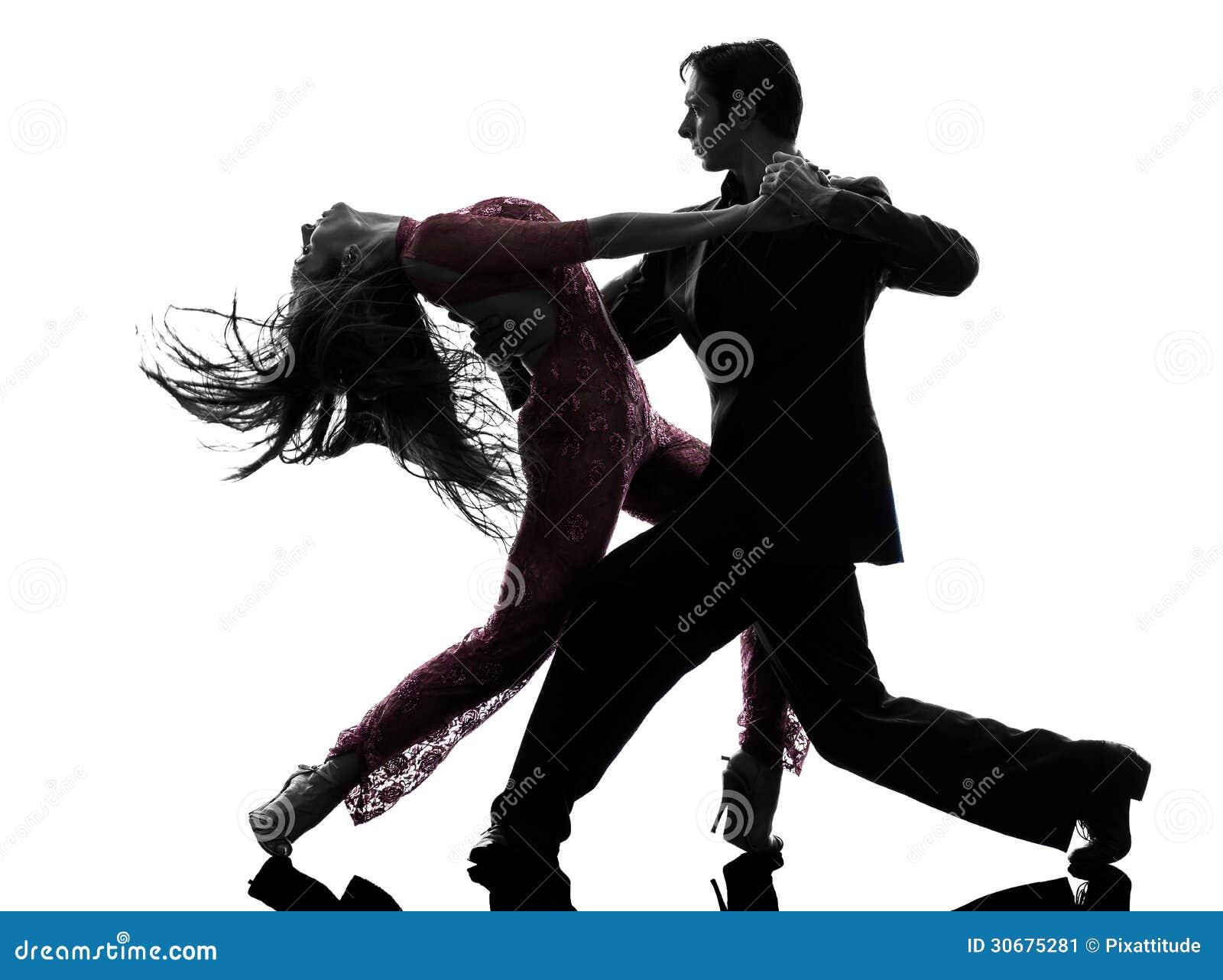 Danseurs de salle de bal de femme d homme de couples tangoing la silhouette