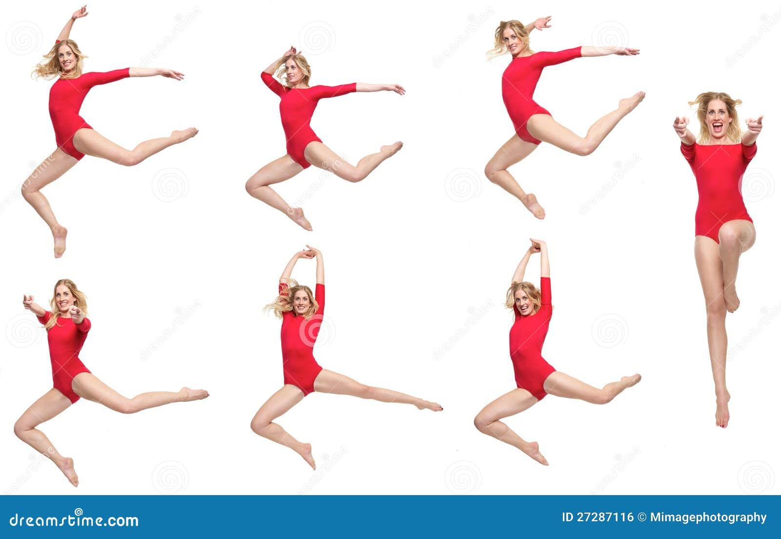 Danspacke av den isolerade härliga blonda flickan