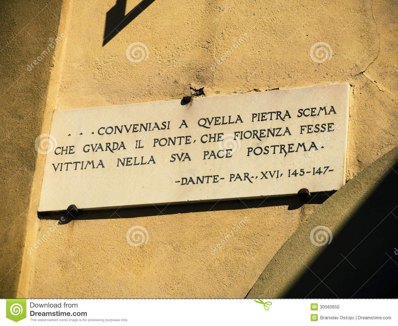 Dante Quote Stock Photo Image Of Medieval Italy Sign 30560650