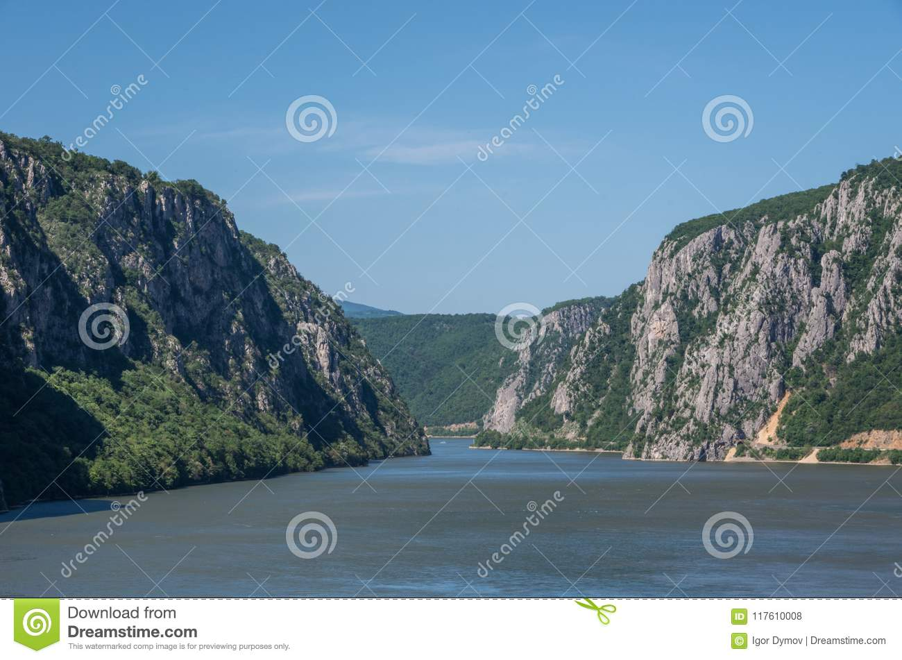 Danube border between Romania and Serbia. Landscape in the Danube Gorges