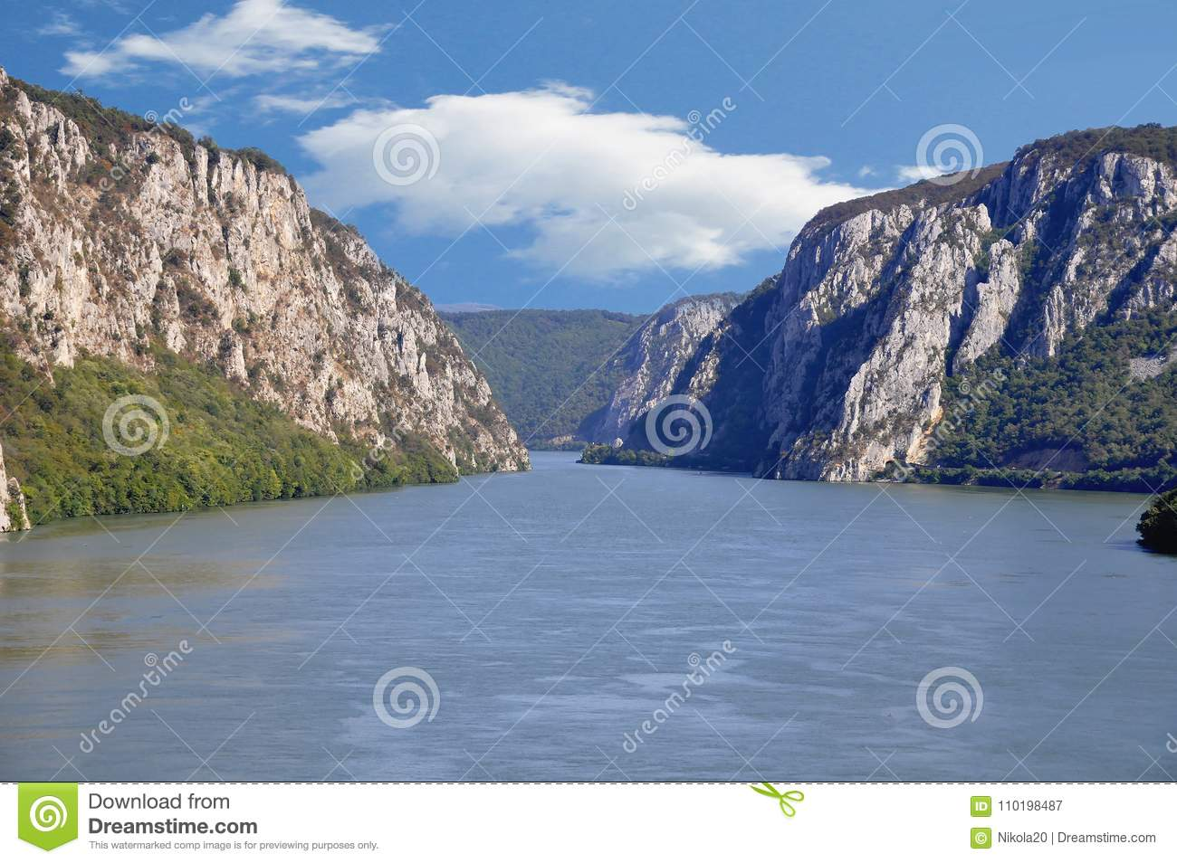 Danube river near the Serbian city of Donji Milanovac.