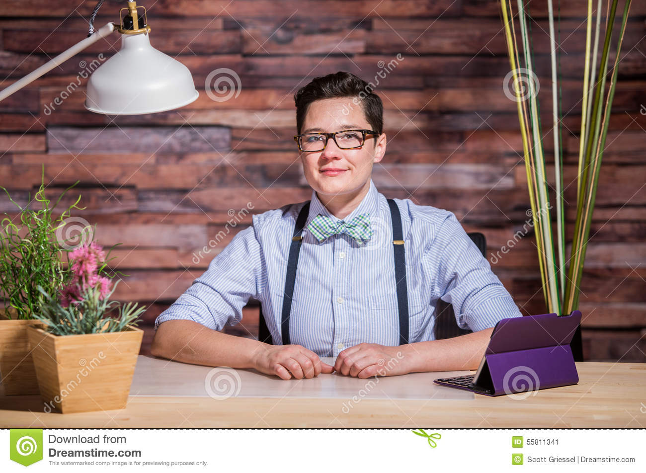 Dapper Woman In Hipster Office With Tablet Stock Image - Image of